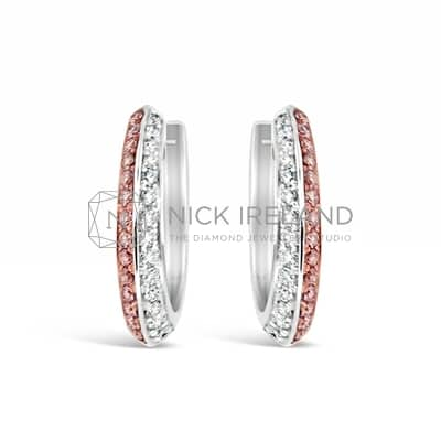 APDJ/6 18CT WHITE GOLD ARGYLE PINK DIAMOND HUGGIES